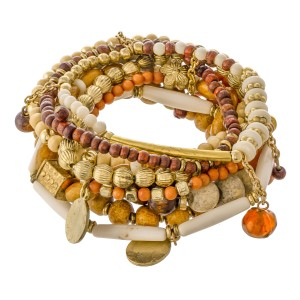 """Natural Brown Wooden Beaded Boho Jingle Charm Stacking Stretch Bracelet Set with Shell Accent.  - 9pcs/set - Approximately 3"""" in diameter unstretched - Fits up to a 7"""" wrist"""