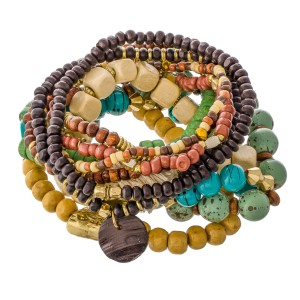 """Multi Wooden Beaded Heishi Boho Tassel Stacking Stretch Bracelet Set.  - 11pcs/set - Approximately 3"""" in diameter unstretched - Fits up to a 7"""" wrist"""