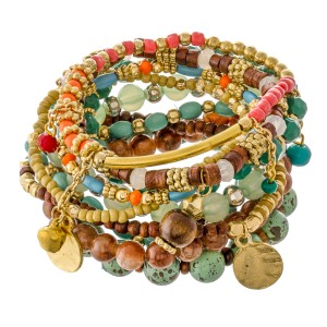"""Mint Semi Precious Beaded Boho Jingle Charm Stacking Stretch Bracelet Set.  - 10pcs/set - Approximately 3"""" in diameter unstretched - Fits up to a 7"""" wrist"""