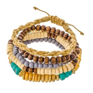 "Natural Turquoise Heishi Beaded Rope Boho Stacking Stretch Bracelet Set.  - 5pcs/set - 1 Rope Bolo Closure Strand - Approximately 3"" in diameter unstretched - Fits up to a 7"" wrist"