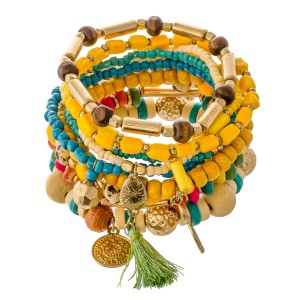 """Yellow Multi Wooden Beaded Boho Charm Tassel Stacking Stretch Bracelet Set.  - 10pcs/set - Approximately 3"""" in diameter unstretched - Fits up to a 7"""" wrist"""
