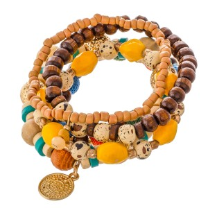 """Multicolor Heishi Wood Beaded Thread Wrapped Ball Stacking Stretch Bracelet Set.  - 5pcs/set - Approximately 3"""" in diameter - Fits up to a 7"""" wrist"""