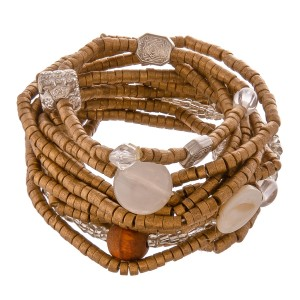 """Matte Gold Rondelle Beaded Stacking Stretch Bracelet Set with Silver Tone Bead Accents and Shell Detail.  - 11pcs/set - 2.5mm Bead Size - Approximately 3"""" in diameter - Fits up to a 7"""" wrist"""