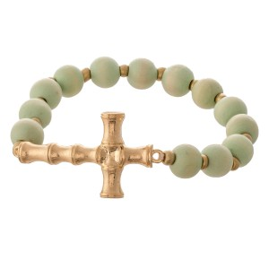 """Wood Beaded Bamboo Cross Stretch Bracelet.  - Focal 1.5""""  - Approximately 3"""" in diameter unstretched - Fits up to a 7"""" wrist"""