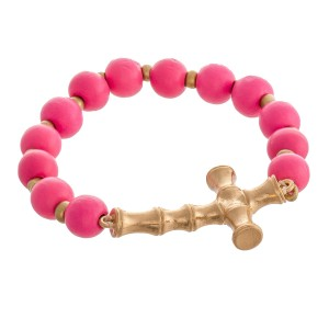 "Wood Beaded Bamboo Cross Stretch Bracelet.  - Focal 1.5""  - Approximately 3"" in diameter unstretched - Fits up to a 7"" wrist"