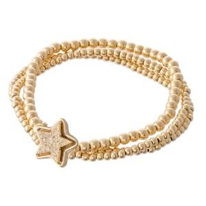 "Gold Beaded Druzy Star Stretch Bracelet Set.  - 3pcs/set - Approximately 3"" in diameter - Fits up to a 7"" wrist"