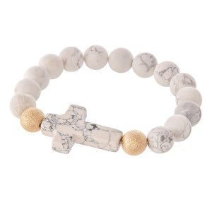 "Natural Stone Beaded Cross Stretch Bracelet.  - Cross Focal approx. 1""  - Approximately 3"" in diameter - Fits up to 7"" wrist"