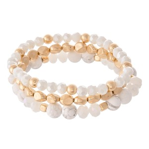 """Semi Precious Beaded Stretch Bracelet Set Featuring Natural Stone Details.  - 3pcs/set - Approximately 3"""" in diameter - Fits up to a 7"""" wrist"""