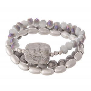 """Natural Stone Beaded Stretch Bracelet Set.  - 3pcs/set - Approximately 3"""" in diameter - Fits up to a 7"""" wrist"""