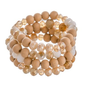 """Wood Beaded Stackable Stretch Bracelet Set Featuring Semi Precious Bead Details.  - 4pcs/set - Approximately 3"""" in diameter - Fits up to a 7"""" wrist"""