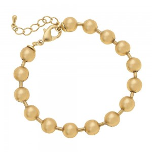 """7mm Ball Chain Bracelet in Worn Gold.  - Approximately 2.5"""" in diameter - Fits up to a 6"""" wrist - 1"""" Adjustable Extender"""
