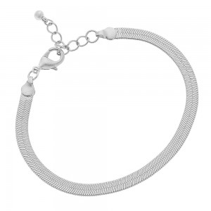 """5mm Herringbone Chain Bracelet in Silver.  - Approximately 2.5"""" in diameter - Fits up to a 6"""" wrist - 1"""" Adjustable Extender"""