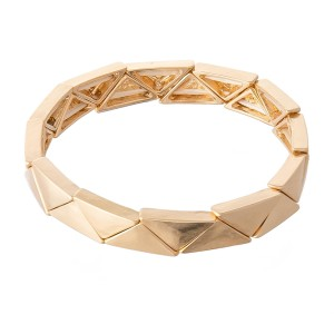 """Triangle Block Stretch Bracelet in Gold.  - Approximately 3"""" in diameter - Fits up to a 7"""" wrist"""