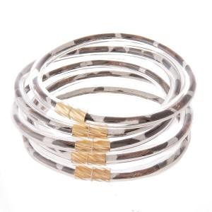 "Leopard Print Jelly Bangle Bracelet Set.  - 5 pcs per set - Approximately 3"" in diameter - Fits up to a 6"" wrist"