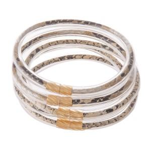 "Snakeskin Jelly Bangle Bracelet Set.  - 5 pcs per set - Approximately 3"" in diameter - Fits up to a 6"" wrist"