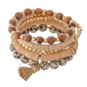 """Semi Precious Beaded Boho Stackable Stretch Bracelet Set Featuring Tassel Accent.  - 6 pcs per set - Approximately 3"""" in diameter - Fits up to a a 7"""" wrist"""