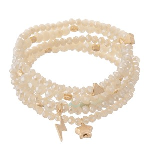 """Faceted Beaded Stretch Bracelet Set Featuring Stars & Lightning Bolt in Gold Charms with Natural Stone Details.  - 5pcs per set - Approximately 3"""" in diameter - Fits up to a 7"""" wrist"""