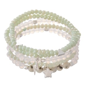 """Faceted Beaded Stretch Bracelet Set Featuring Stars & Lightning Bolt in Silver Charms with Natural Stone Details.  - 5pcs per set - Approximately 3"""" in diameter - Fits up to a 7"""" wrist"""