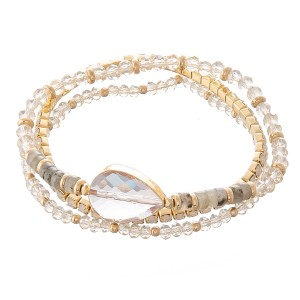"""Semi Precious Beaded Crystal Stretch Bracelet Set.  - 3 Pieces Per Set - Approximately 3"""" in Diameter - Fits up to a 7"""" Wrist"""