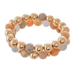 """Semi Precious Beaded Stretch Bracelet Set in Gold Featuring CCB Accent.  - 2pcs per set - Bead Size: 9mm  - Approximately 3"""" in Diameter - Fits up to a 7"""" Wrist"""