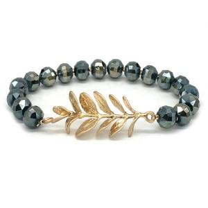 "Faceted Beaded Leaf Fringe Stretch Bracelet in Gold.  - Leaf Focal 1.5""  - Approximately 3"" in Diameter - Fits up to a 7"" Wrist"