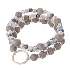 "Natural Stone Beaded Boho Bracelet Set Featuring a Ring Accent.  - 3pcs per ser - Approximately 3"" in Diameter - Fits up to a 7"" Wrist"