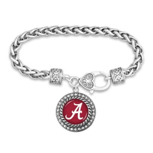 "Alabama Game Day Bracelet Featuring Rhinestone Accents.  - Rope Chain Style Bracelet - Rhinestone & Filigree Accents - Heart Lobster Clasp - Charm 1""  - Approximately 3' in Diameter - Fits up to 6"" Wrist"