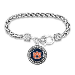"Auburn Day Bracelet Featuring Rhinestone Accents.  - Rope Chain Style Bracelet - Rhinestone & Filigree Accents - Heart Lobster Clasp - Charm 1""  - Approximately 3' in Diameter - Fits up to 6"" Wrist"