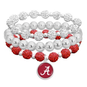 "Alabama Rhinestone Beaded Game Day Stretch Bracelet Set.  - 3pcs per set - Bead Size: 9mm - Charm 1""  - Approximately 3"" in Diameter - Fits up to a 7"" Wrist"