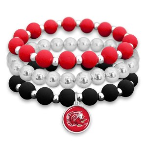 "Jacksonville State University Rubber Beaded Game Day Stretch Bracelet Set.  - 3pcs per set - Bead Size: 9mm - Charm 1""  - Approximately 3"" in Diameter - Fits up to a 7"" Wrist"