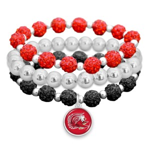 "Jacksonville State University Rhinestone Beaded Game Day Stretch Bracelet Set.  - 3pcs per set - Bead Size: 9mm - Charm 1""  - Approximately 3"" in Diameter - Fits up to a 7"" Wrist"