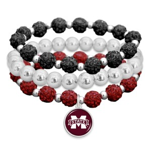 """Mississippi State Rhinestone Beaded Game Day Stretch Bracelet Set.  - 3pcs per set - Bead Size: 9mm - Charm 1""""  - Approximately 3"""" in Diameter - Fits up to a 7"""" Wrist"""