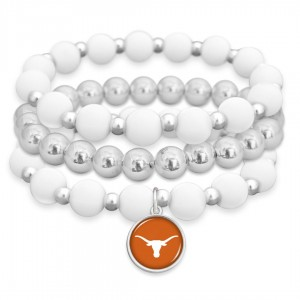 "Texas Longhorn Rubber Beaded Game Day Stretch Bracelet Set.  - Charm 1""  - Bead Size: 9mm - Approximately 3"" in Diameter - Fits up to a 7"" Wrist"