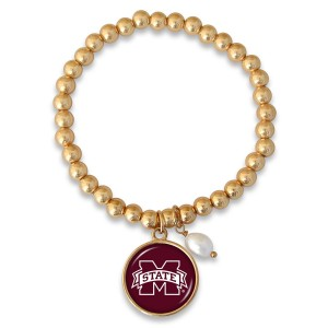 """Mississippi State Beaded Game Day Stretch Bracelet Featuring Pearl Accent in Gold.  - Charm 1""""  - Bead Size: 4mm - Approximately 3"""" in Diameter - Fits up to a 7"""" Wrist"""