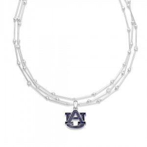 "Auburn Layered Game Day Necklace Featuring Rhinestone Accents.  - Pendant .75"" - Approximately 18"" L  - 2"" Adjustable Extender"