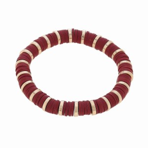 """Rubber Heishi Beaded Stretch Bracelet Featuring Worn Gold Plated Bead Details.  - Approximately 3"""" in Diameter"""