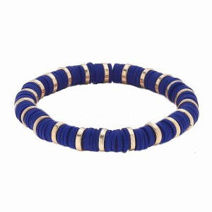 """Polymer Clay Spacer Beaded Stretch Bracelet Featuring Worn Gold Plated Beads.  - Polymer clay discs & worn gold plated beads - Approximately 3"""" in Diameter - Stretch - 1 size fits most"""