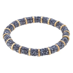 """Speckled Polymer Clay Spacer Beaded Stretch Bracelet Featuring Worn Gold Plated Beads.  - Polymer clay discs & worn gold plated beads - Approximately 3"""" in Diameter - Stretch - 1 size fits most"""