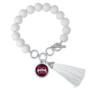 """Mississippi State Beaded Game Day Tassel Bracelet Featuring Adjustable Toggle Bar.  - Charm & Tassel (approx) 1"""" - Bead Size: 9mm - Approximately 3"""" in Diameter - Fits up to a 7"""" Wrist"""