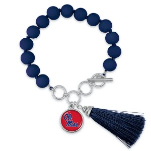 """Ole Miss Beaded Game Day Tassel Bracelet Featuring Adjustable Toggle Bar.  - Charm & Tassel (approx) 1"""" - Bead Size: 9mm - Approximately 3"""" in Diameter - Fits up to a 7"""" Wrist"""