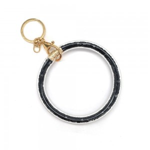 "Glitter Star Filled Key Ring Bangle Wristlet.  - Holds Keys - Can Wear on Wrist, Attach to Bags or Purses - 3.5"" in Diameter"