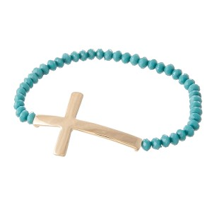 """Beaded Cross Stretch Bracelet.  - Cross 1.5""""  - Approximately 3"""" in Diameter - Fits up to a 7"""" Wrist"""