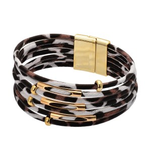 "Multi Strand Leopard Print Magnetic Bracelet Featuring Gold Bead Accents.  - Magnetic Closure - Approximately 3"" in Diameter"