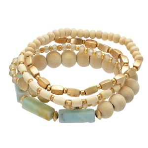 "4 PC Multi Wood Beaded Semi Precious Stretch Bracelet Set.  - 4 PC Per Set - Approximately 3"" in Diameter"