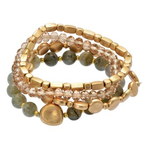 "4 PC Semi Precious Metal Beaded Stretch Bracelet Set in Gold.  - 4 PC Per Set - Approximately 3"" in Diameter"