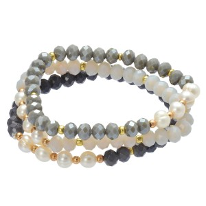 "3 PC Pearl Beaded Stretch Bracelet Set.  - 3 PC Per Set - Approximately 3"" in Diameter"