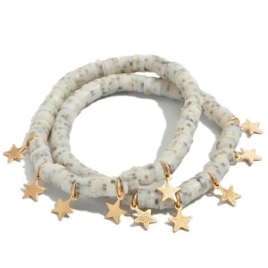 """3 PC Rubber Heishi Beaded Stretch Bracelet Set Featuring Gold Star Accents.  - 3 PC Per Set - Approximately 3"""" in Diameter"""