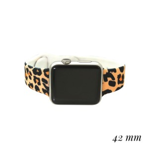 """Interchangeable Silicone Tan Leopard Print Smart Watch Band for Smart Watches Only.  - Fits 42mm Watch Face - Band Width approximately 1"""" - Approximately 3"""" in Diameter - Adjustable Band"""