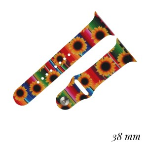 """Interchangeable Silicone Candy Stripe Sunflower Smart Watch Band for Smart Watches Only.  - Fits 38mm Watch Face - Band Width approximately 1""""  - Approximately 3"""" in Diameter - Adjustable Band"""