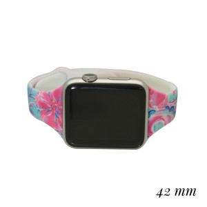 """Interchangeable Silicone Print Smart Watch Band for Smart Watches Only.  - Fits 42mm Watch Face - Band Width: .5'  - Approximately 3""""in Diameter  - Adjustable Band"""
